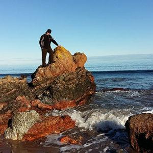 Frank on the Rocks in Rosemarkie