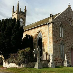Rosemarkie Church with Celtic Crosses